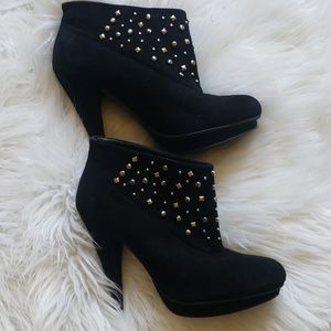 "BCBGeneration studded suede booties 4"" heel"